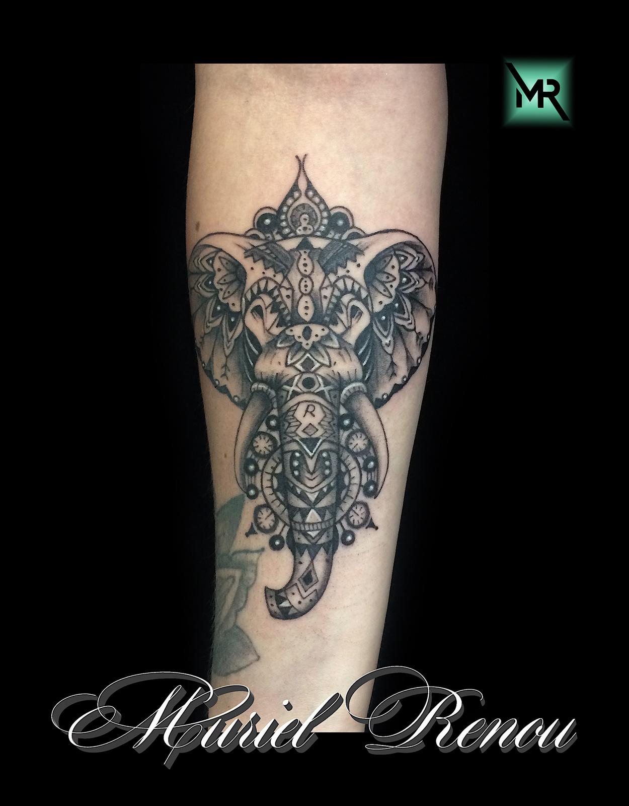 tatouage elephant mandala