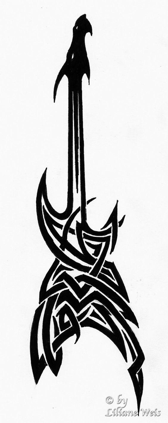 tatouage tribal guitare
