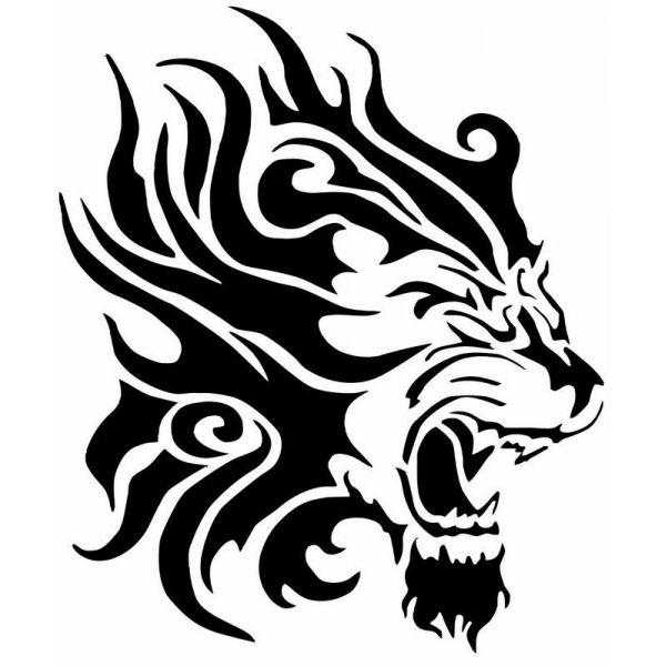 tatouage tribal tete de lion