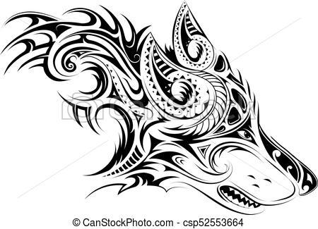 tatouage tribal tete de loup