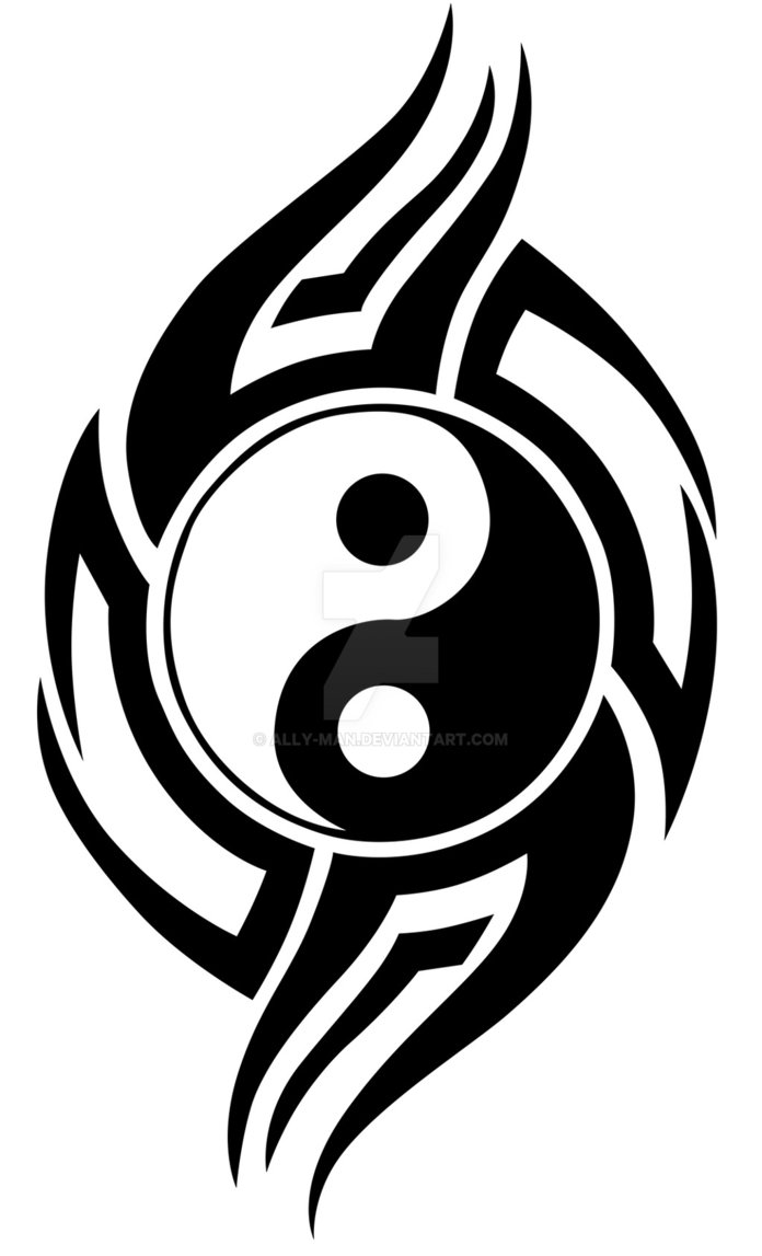 tatouage tribal ying yang